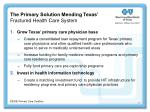 the primary solution mending texas fractured health care system