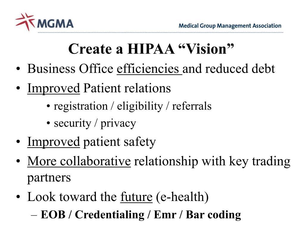 """Create a HIPAA """"Vision"""""""