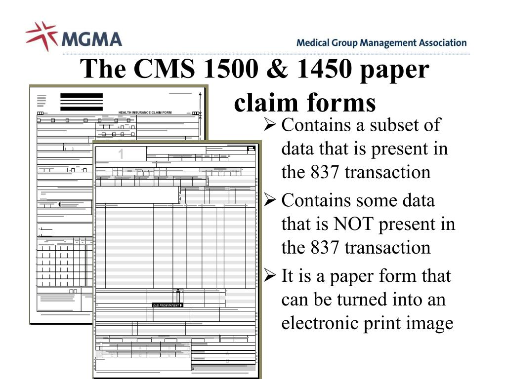 The CMS 1500 & 1450 paper          claim forms