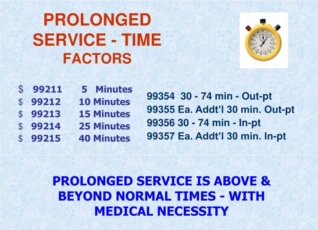 PROLONGED SERVICE - TIME