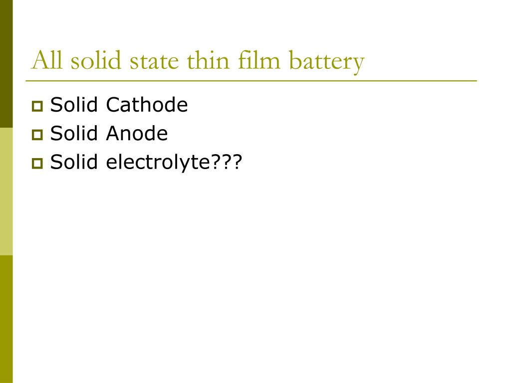 All solid state thin film battery