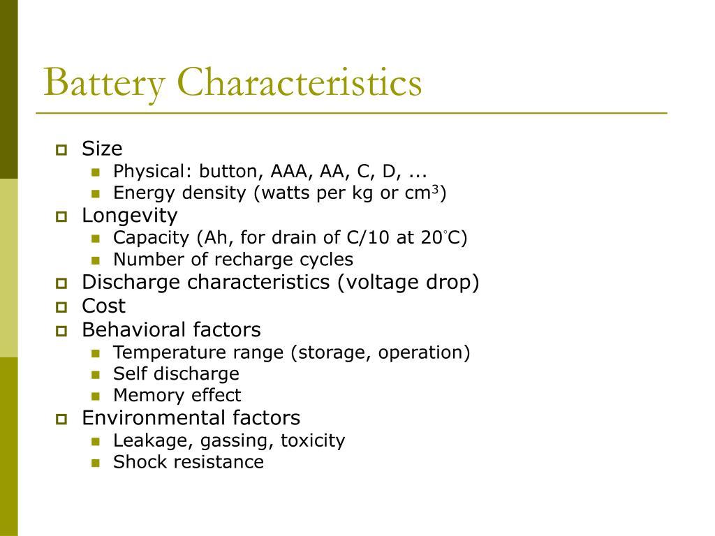 Battery Characteristics