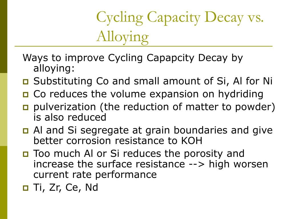 Cycling Capacity Decay vs. Alloying