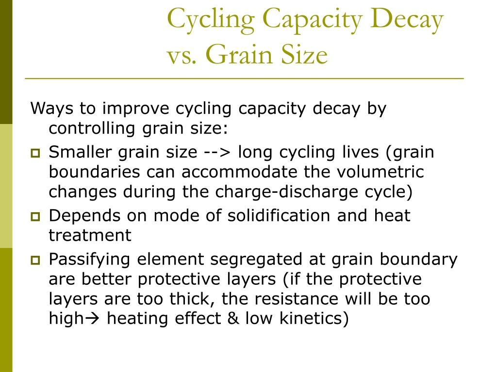 Cycling Capacity Decay