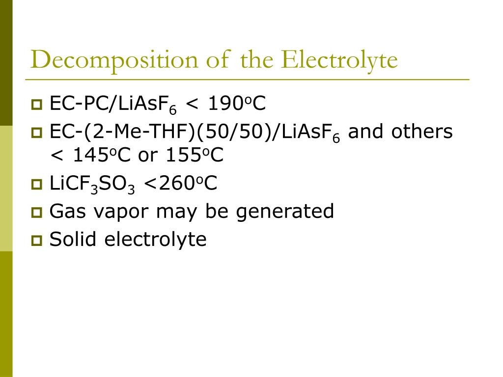 Decomposition of the Electrolyte