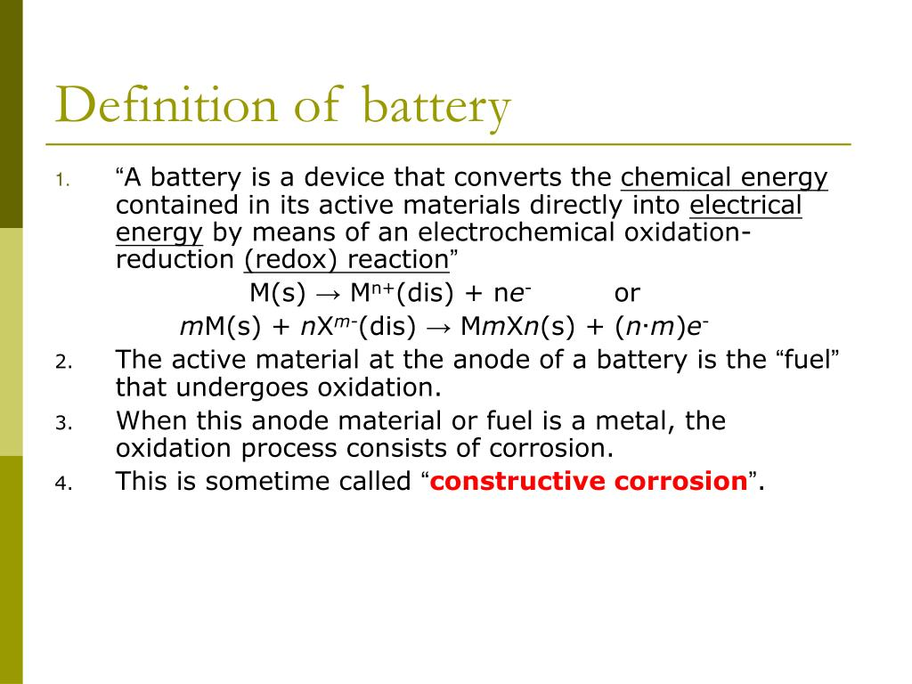 Definition of battery