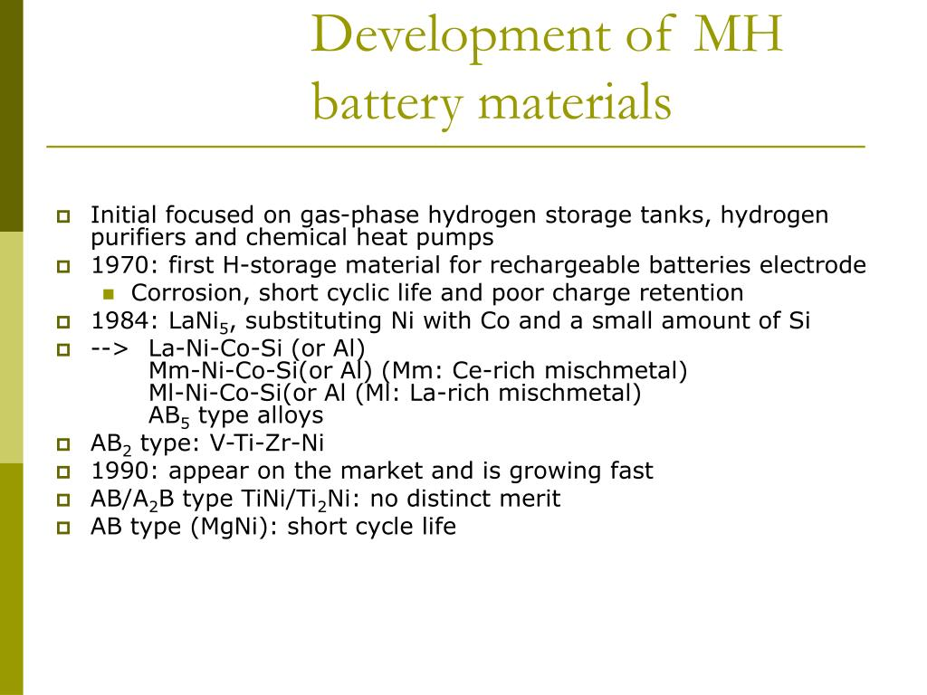 Development of MH battery materials