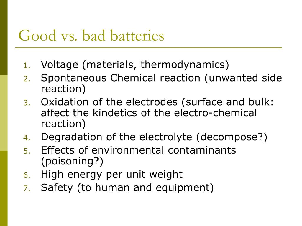 Good vs. bad batteries