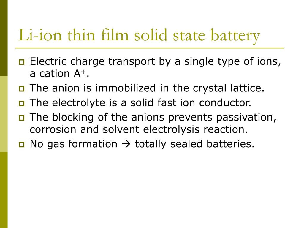 Li-ion thin film solid state battery