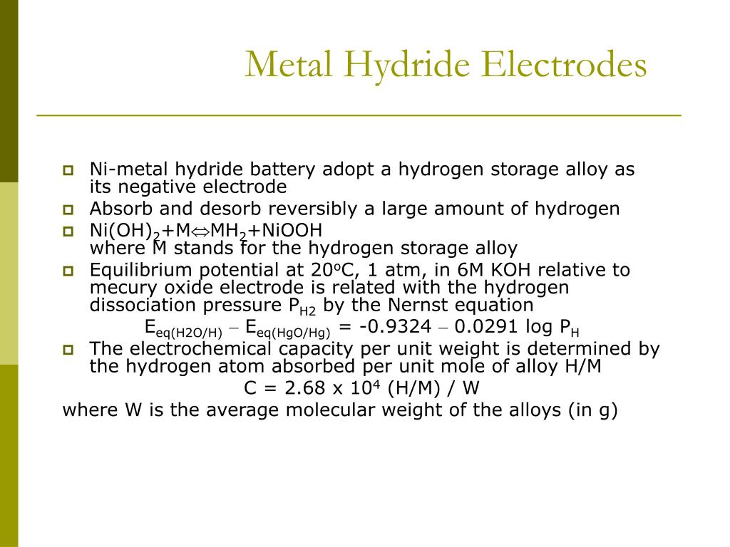 Metal Hydride Electrodes