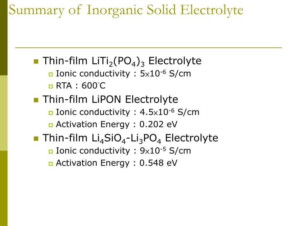 Summary of Inorganic Solid Electrolyte