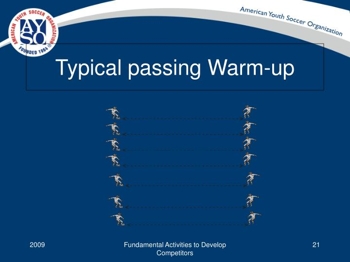 Typical passing Warm-up