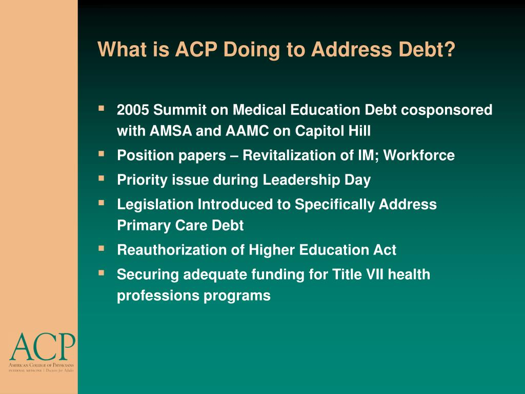 What is ACP Doing to Address Debt?