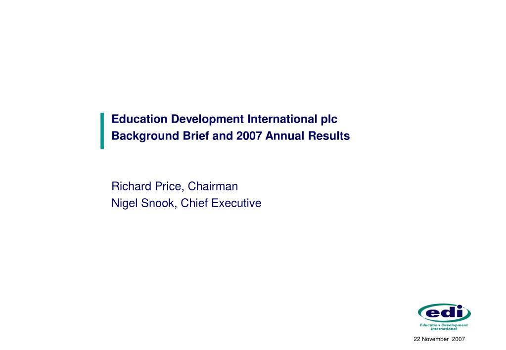 Education Development International plc