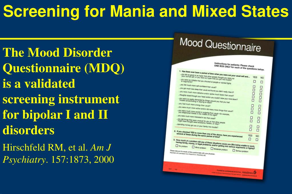 Screening for Mania and Mixed States