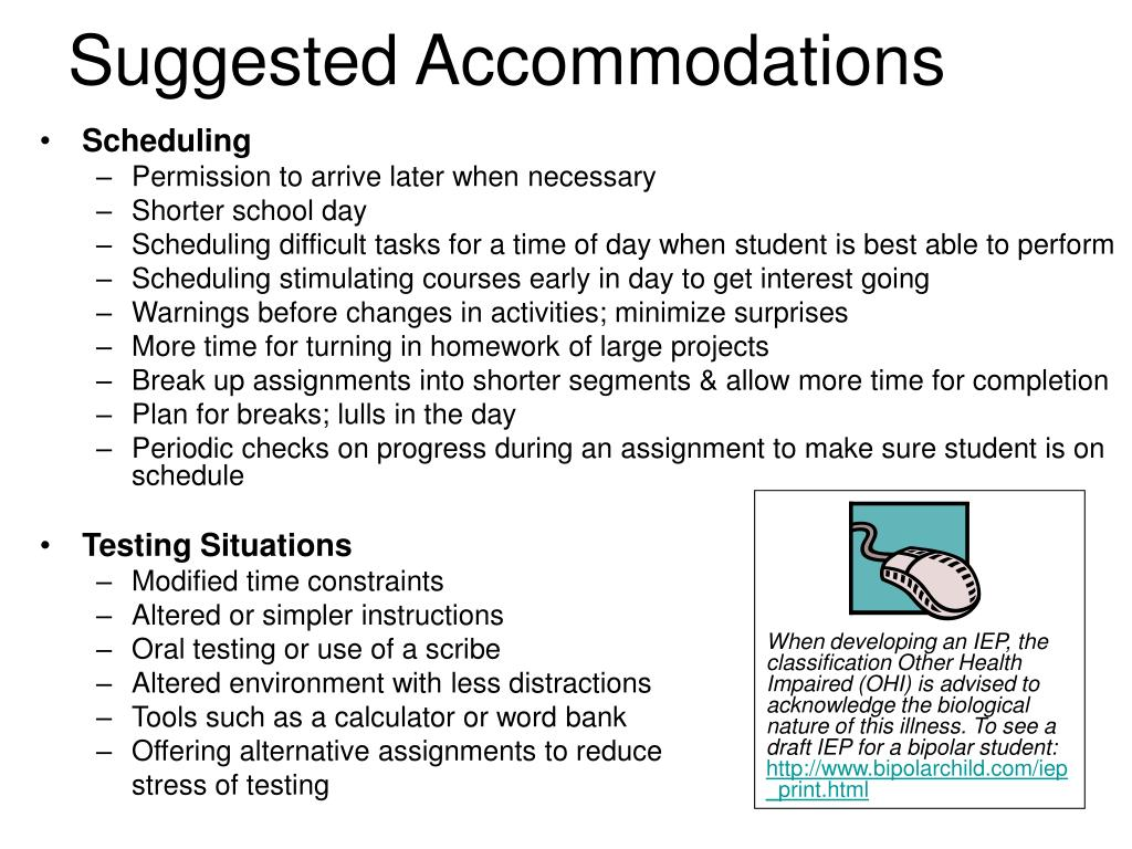 Suggested Accommodations