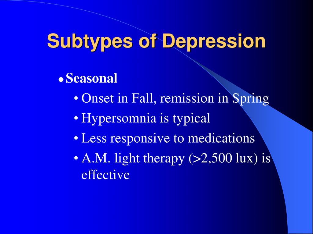 Subtypes of Depression