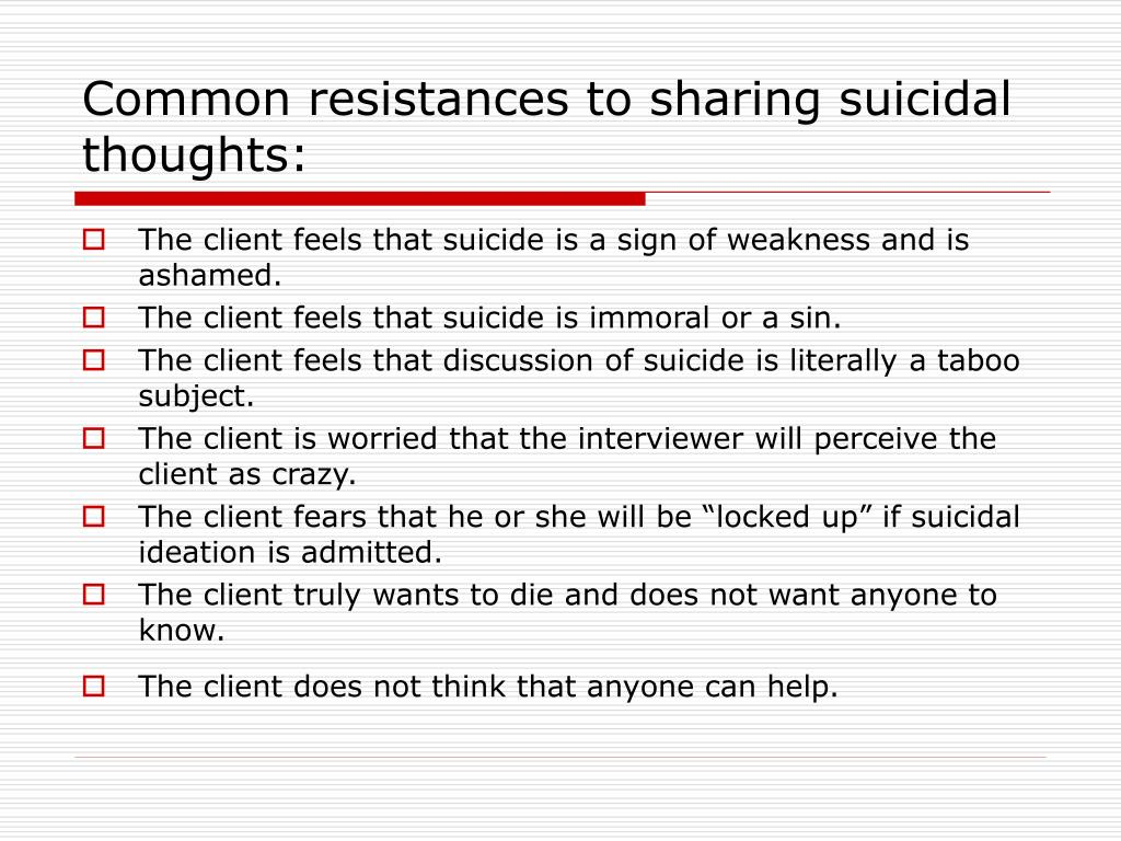 Common resistances to sharing suicidal thoughts: