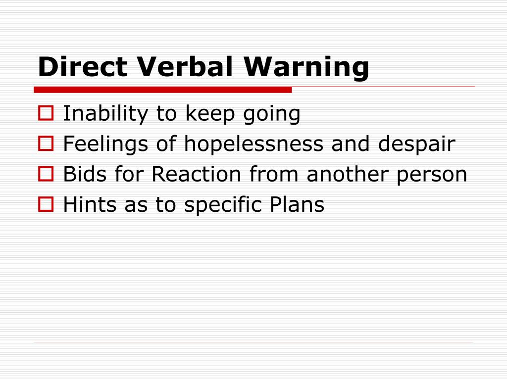 Direct Verbal Warning