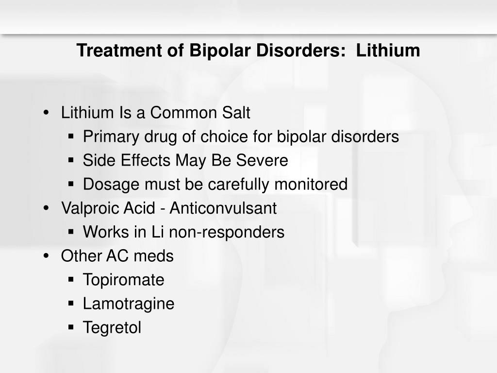 Treatment of Bipolar Disorders:  Lithium