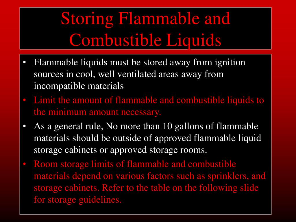 Storing Flammable and Combustible Liquids