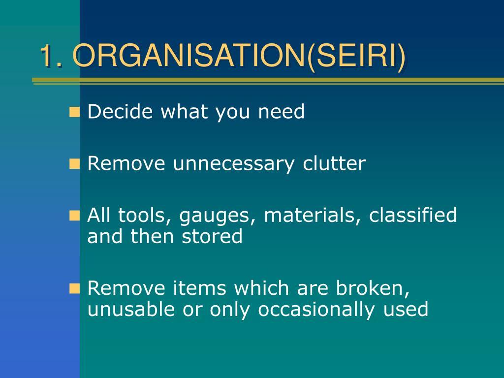 1. ORGANISATION(SEIRI)