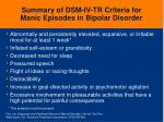 summary of dsm iv tr criteria for manic episodes in bipolar disorder