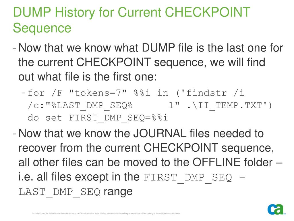 DUMP History for Current CHECKPOINT Sequence