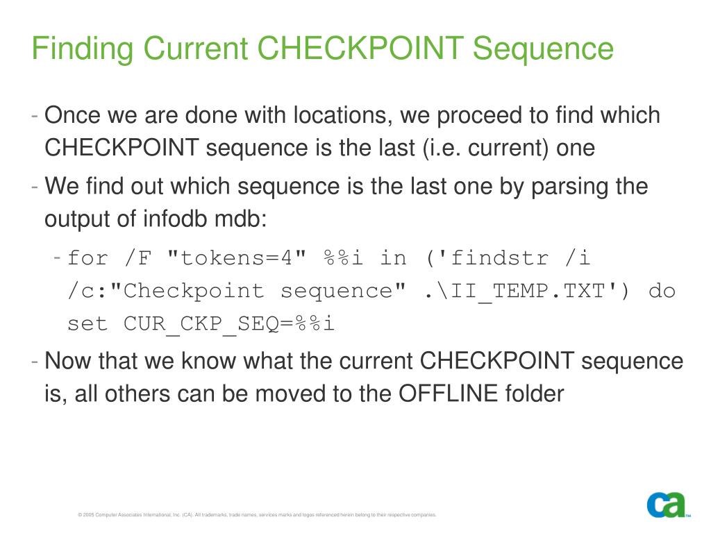 Finding Current CHECKPOINT Sequence
