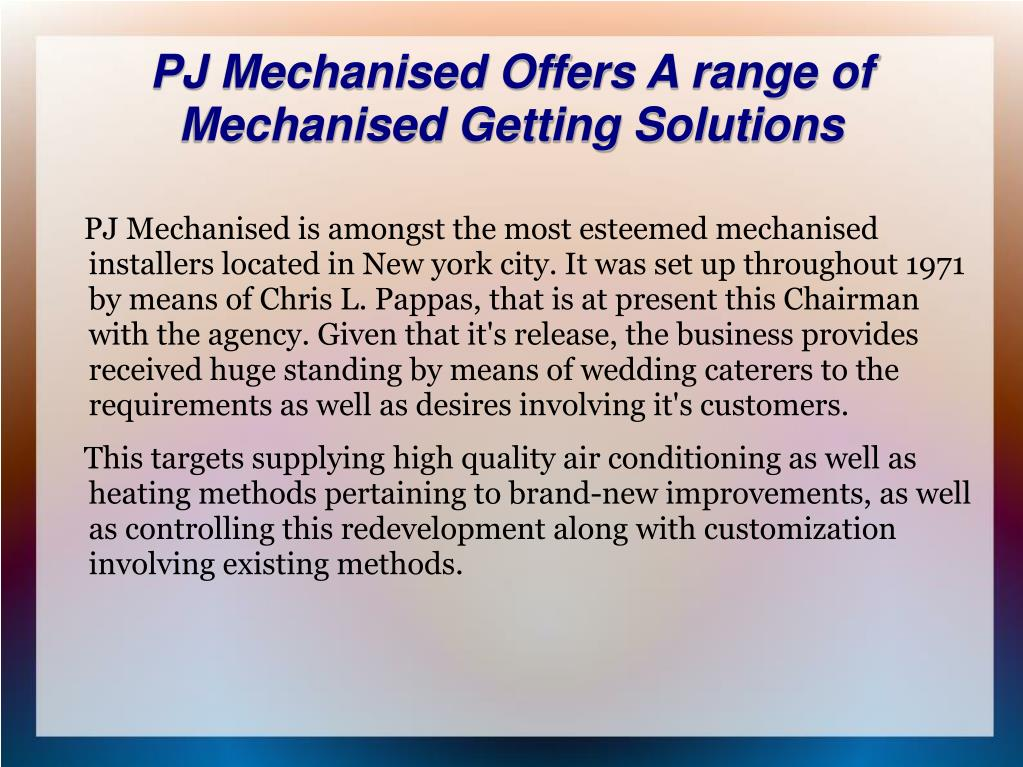 PJ Mechanised Offers A range of Mechanised Getting Solutions
