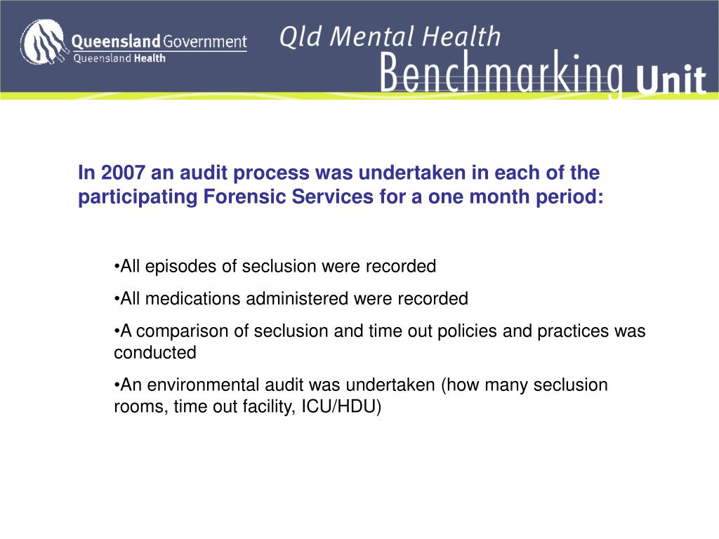 In 2007 an audit process was undertaken in each of the participating Forensic Services for a one month period: