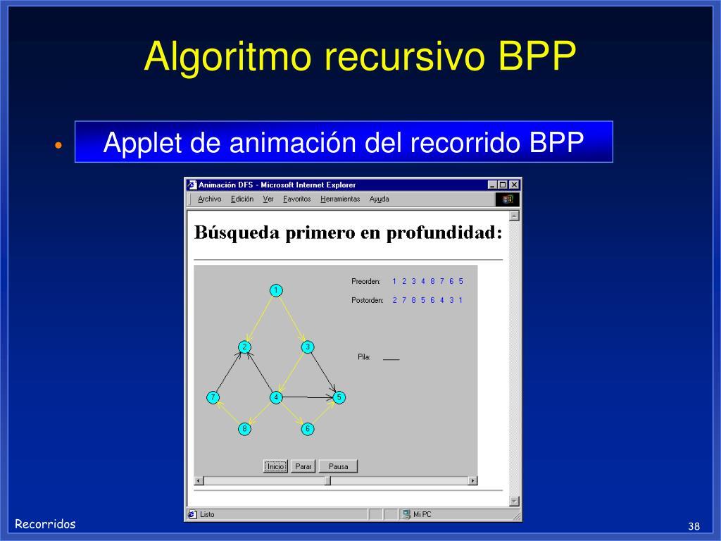 Algoritmo recursivo BPP