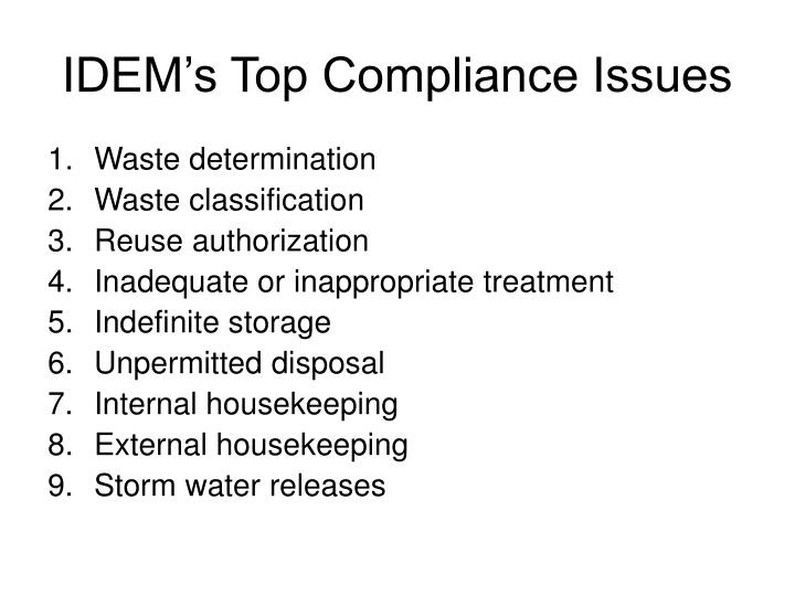 Idem s top compliance issues