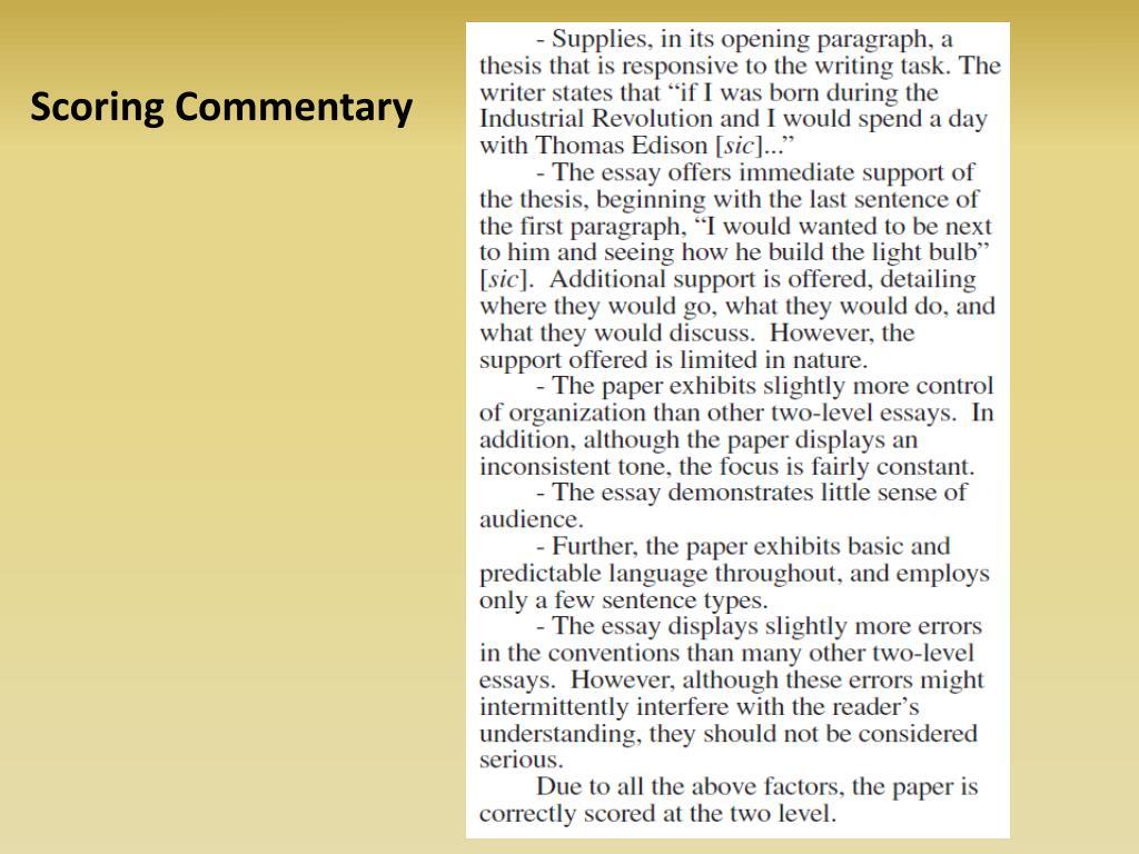 Scoring Commentary