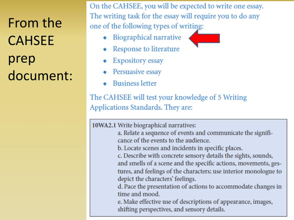 From the CAHSEE prep document: