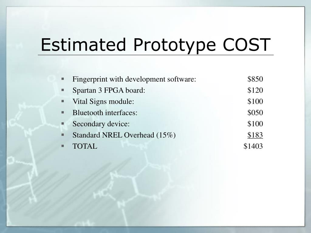 Estimated Prototype COST