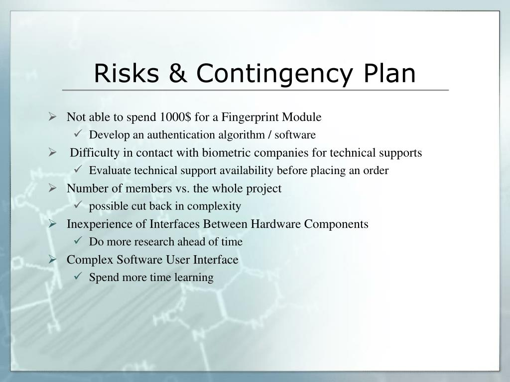 Risks & Contingency Plan