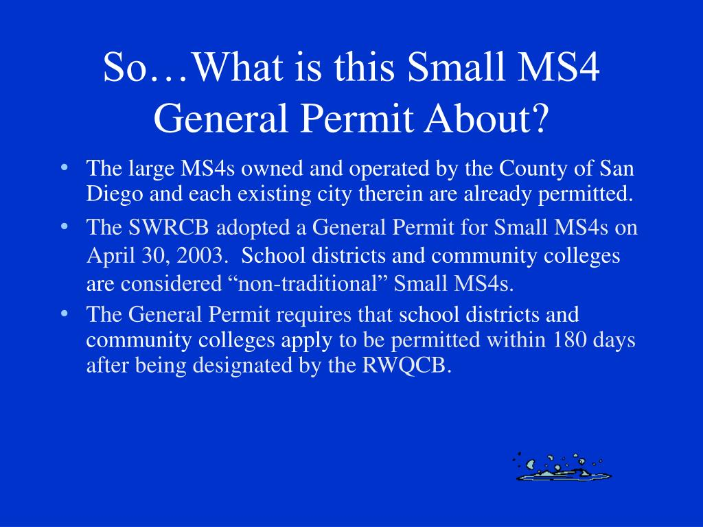 So…What is this Small MS4 General Permit About?