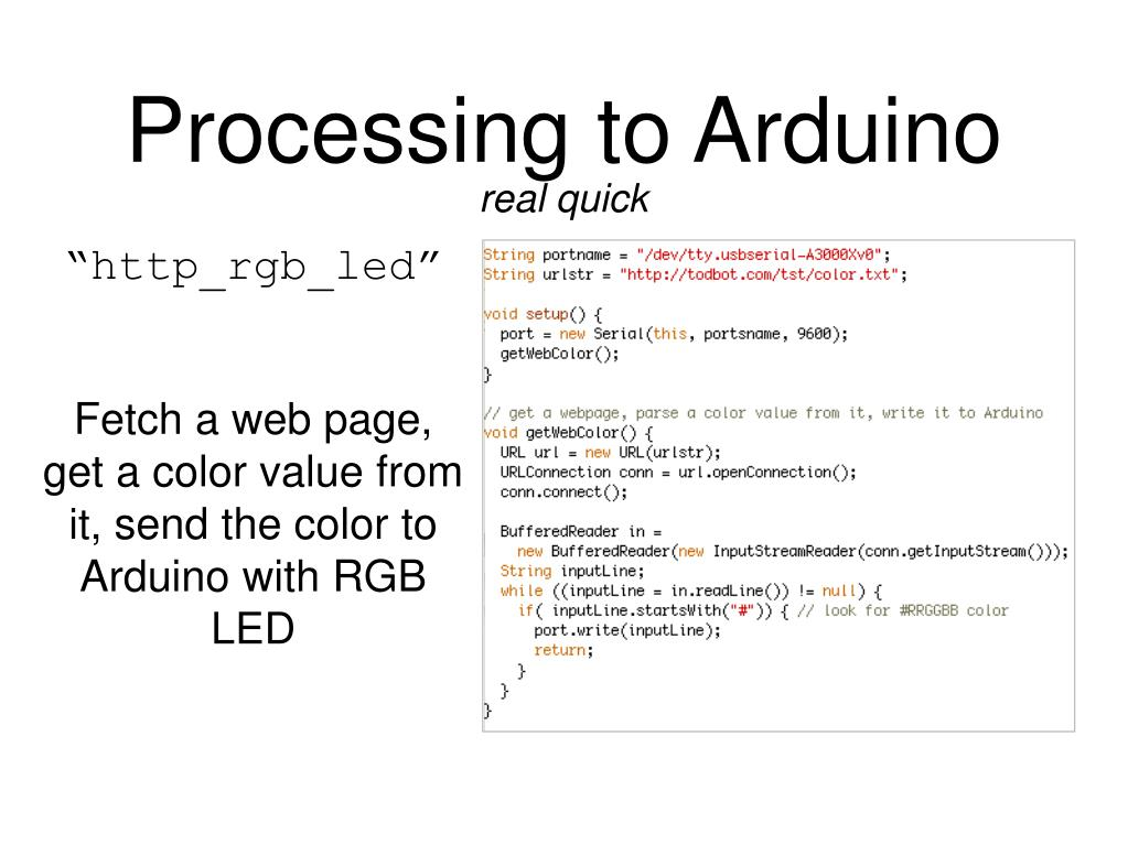 Processing to Arduino