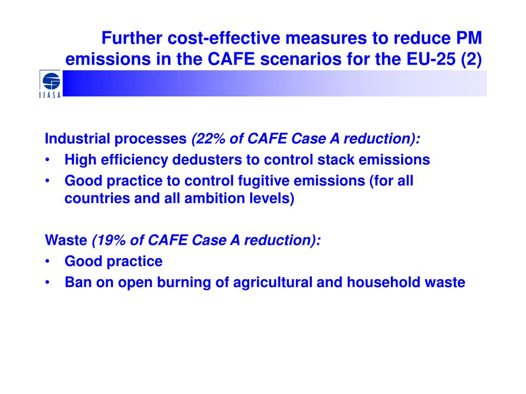 Further cost-effective measures to reduce PM emissions in the CAFE scenarios for the EU-25 (2)