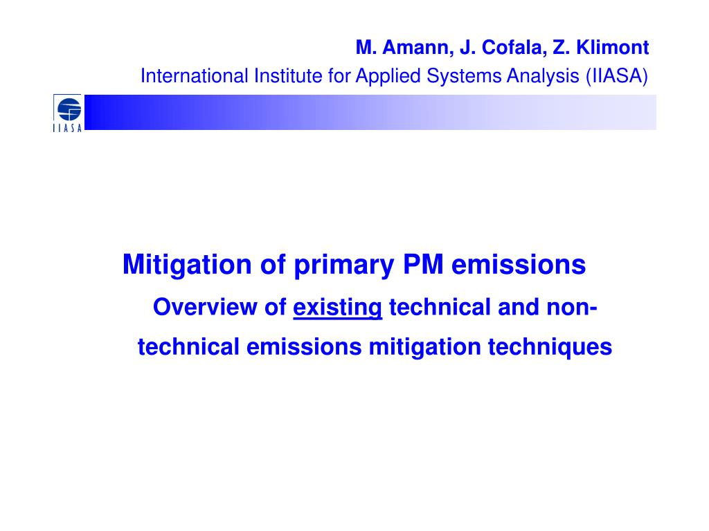 Mitigation of primary PM emissions