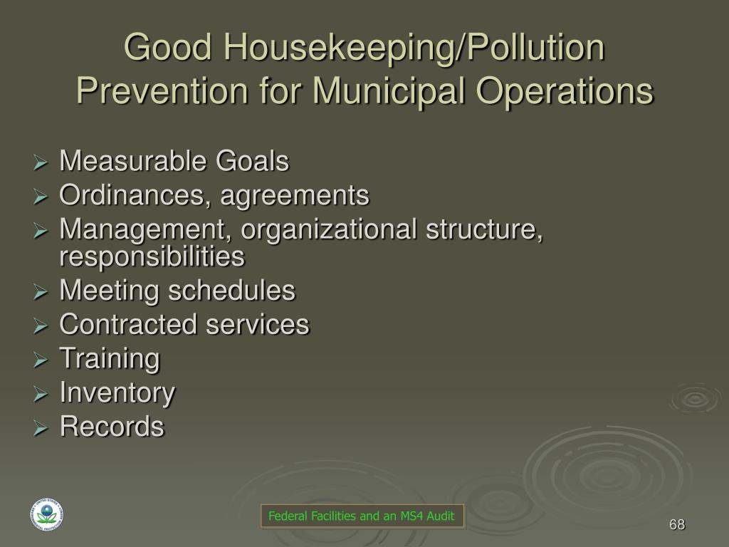Good Housekeeping/Pollution Prevention for Municipal Operations