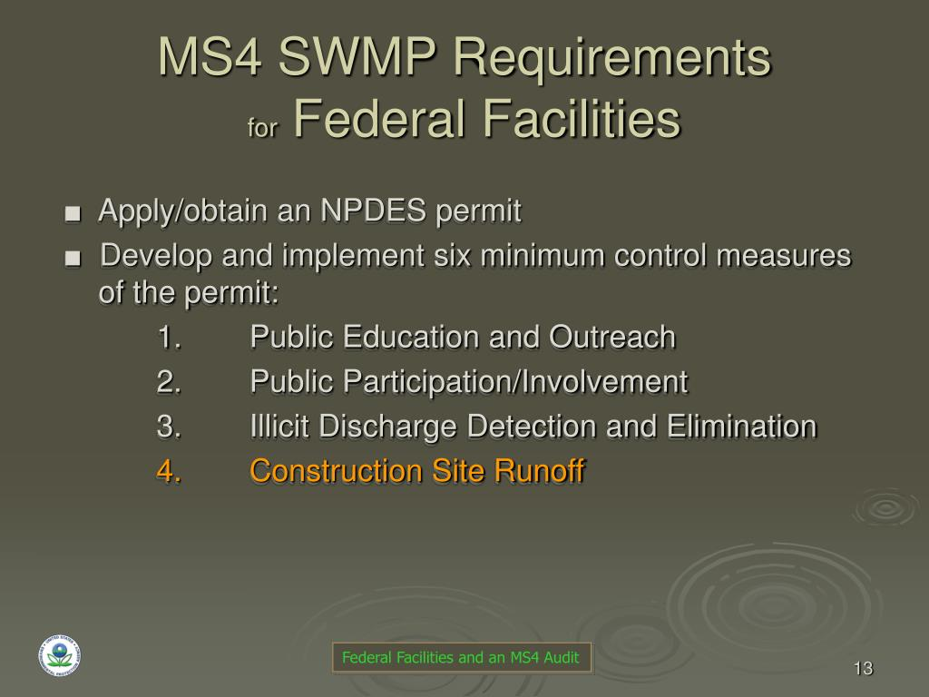 MS4 SWMP Requirements