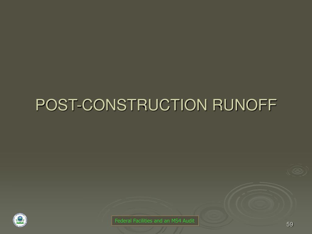 POST-CONSTRUCTION RUNOFF