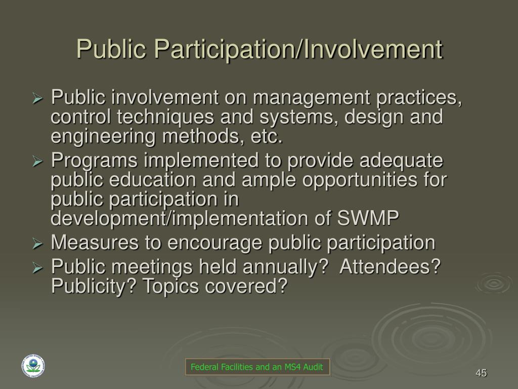 Public Participation/Involvement