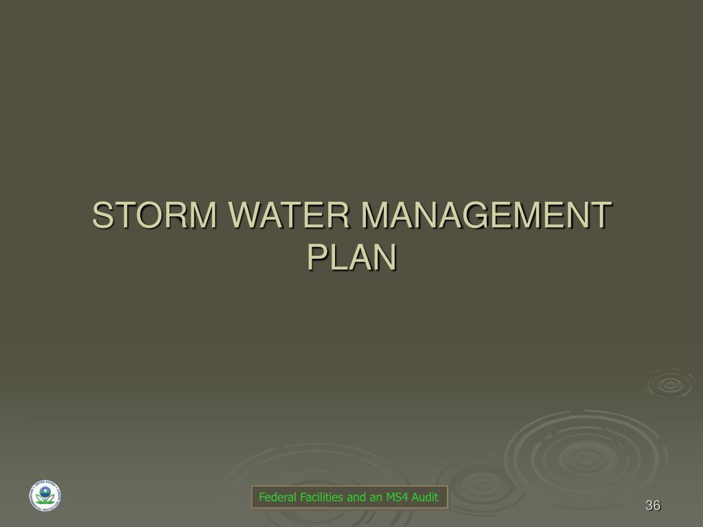 STORM WATER MANAGEMENT PLAN