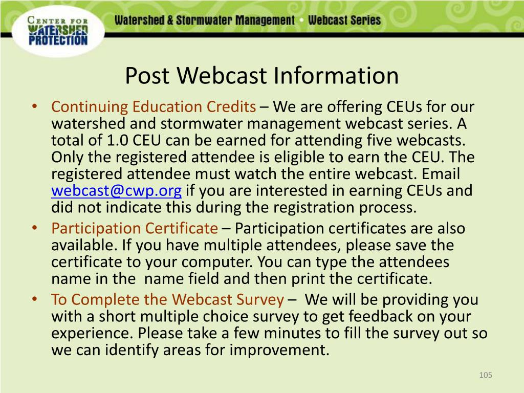 Post Webcast Information