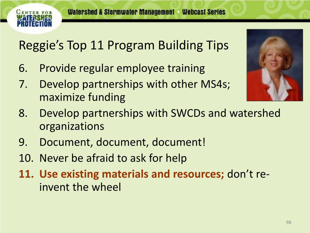 Reggie's Top 11 Program Building Tips