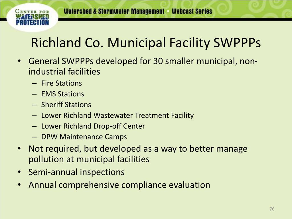 Richland Co. Municipal Facility SWPPPs