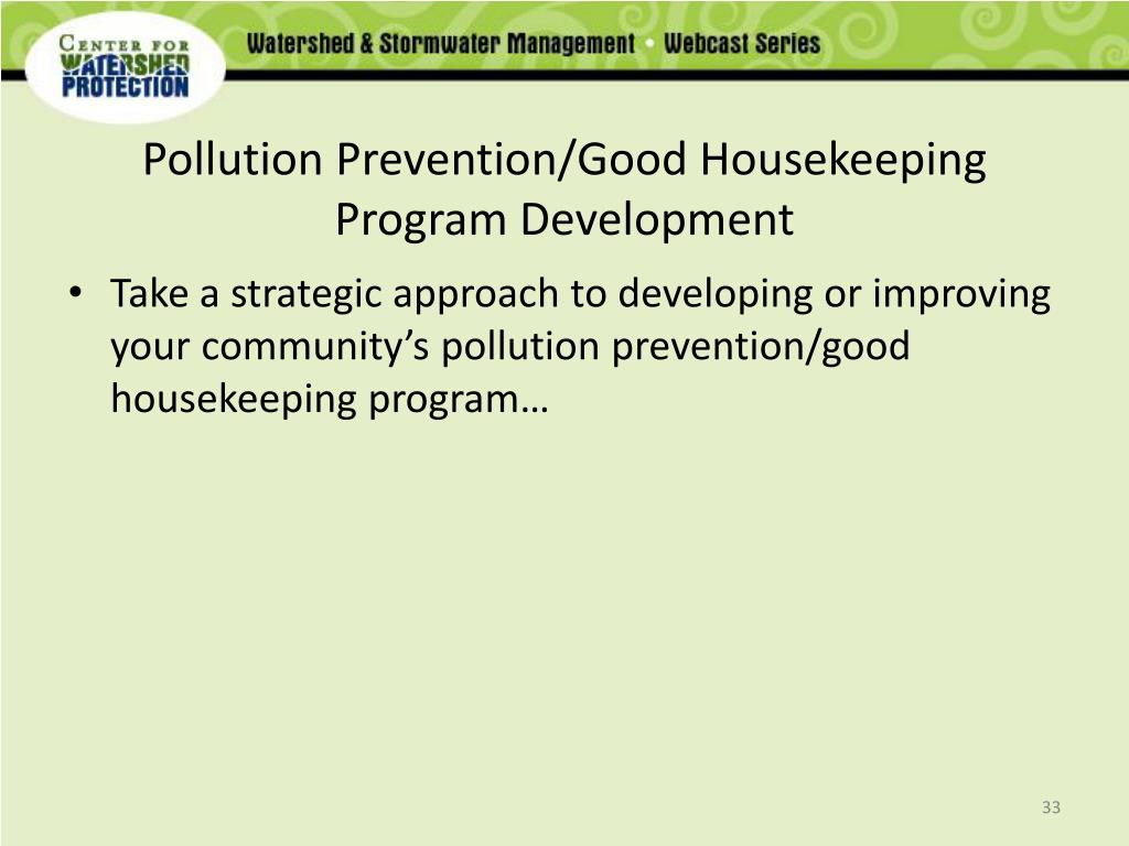 Pollution Prevention/Good Housekeeping Program Development
